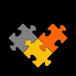 puzzle arancione e giallo
